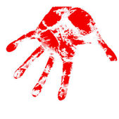 Bloody hand prints, on a white background, vector. — Stock Vector