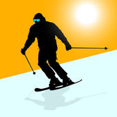 Mountain skier speeding down slope. Vector sport silhouette. — Stock Vector