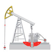 Oil pump jack. Oil industry equipment. Vector illustration. — Vector de stock