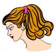 Hand-drawn fashion model. Vector illustration. Woman's face — Vetor de Stock  #34469997