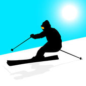 Mountain skier speeding down slope. Vector sport silhouette. — Stock Vector