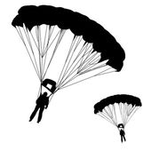 Skydiver, silhouettes parachuting vector illustration — Stock Vector