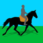 Vector silhouette of horse and jockey — Stockvector