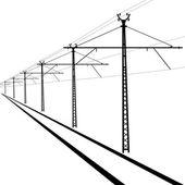 Líneas aéreas del ferrocarril. alambre del contacto. ilustración vectorial. — Vector de stock