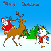Santa claus rides on deer and snowman — Stockvector