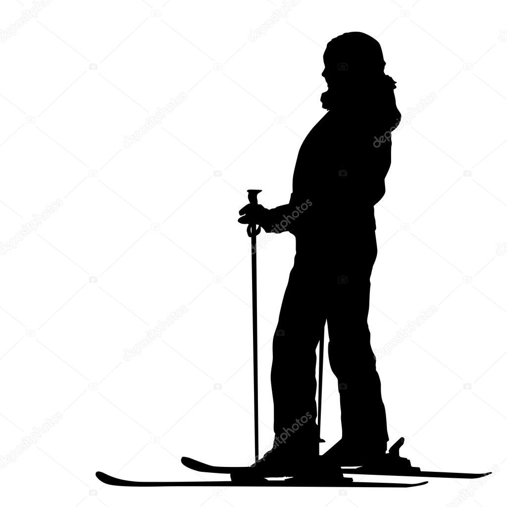 超速行驶坡山滑雪.矢量运动剪影–