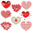 Vector set of Red Hearts — Stock Vector