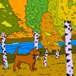 Autumn sunny landscape with forest river and dog - vector illust — Stockvektor