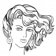 Hand-drawn fashion model. Vector illustration. Woman's face — Vettoriale Stock
