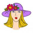 Hand-drawn fashion model. Vector illustration. Woman's face — ストックベクタ