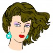 Hand-drawn fashion model. Vector illustration. Woman's face — Stock vektor