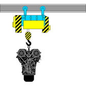Apparaat voor het opheffen van de motor voor reparatie — Stockvector