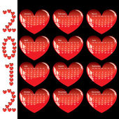 Stylish calendar with red hearts for 2012. — Vettoriale Stock