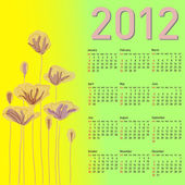 Stylish calendar with flowers for 2012. — Vettoriale Stock