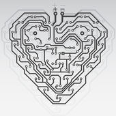 Circuit board pattern in the shape of the heart. Illustration. V — Stock vektor