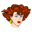 Hand-drawn fashion model. Vector illustration. Woman's face — Vector de stock #34492567