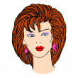Hand-drawn fashion model. Vector illustration. Woman's face — 图库矢量图片 #34502211