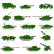 Stock Vector: Vector Tanks, artillery and vehicles from second world war stic