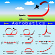 Aerobatics airplane on blue sky background — Stock Vector