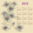 Stylish calendar with flowers for 2012. Week starts on Monday. — Stock Vector #34507315