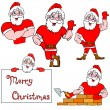 A set of pictures muscular Santa Claus — Stock Vector