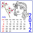 2012 year calendar in vector. July. — Image vectorielle