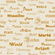 Peace . Seamless wallpaper with the word peace in different lang — Vector de stock