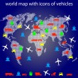 World map with icons of transport for traveling. — Stok Vektör