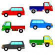 Set cars, trucks and cars.  — Stock Vector