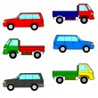 Set cars, trucks and cars. — Stock Vector #34508487