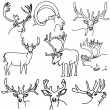 Stock Vector: A set of deer, elk, and goats
