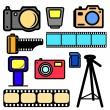 Vector set of cameras and accessories. — Stock Vector