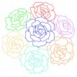 Large bouquet of roses. vector — Stock Vector