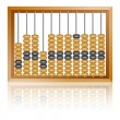 Stock Vector: Old wooden abacus close up