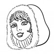 Stockvector : Hand-drawn fashion model. Vector illustration. Woman's face