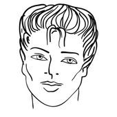 Hand-drawn fashion model. Vector illustration. Man face — Stock Vector