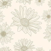 Hand drawn floral wallpaper with set of different flowers — Stock Vector