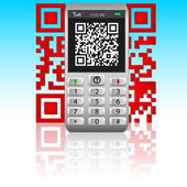 Smartphone with QR code. — Stock vektor