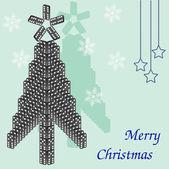 Piękne drzewo domino. kartka świąteczna. — Wektor stockowy