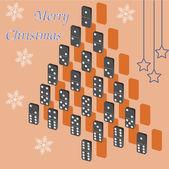 Ett vackert träd dominobrickor. julkort. — Stockvektor