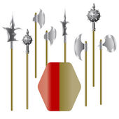 Illustration of medieval weapons and shield — Stock Vector