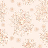 Hand drawn floral wallpaper with set of different flowers. — Stock Vector
