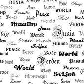Paz. fondo de pantalla sin fisuras con la palabra paz en diferentes lang — Vector de stock