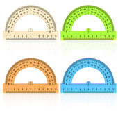 Protractor ruler on a white background. — Stock Vector