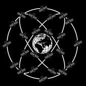 Space satellites in eccentric orbits around the Earth. — Stock Vector