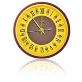 The vintage clock shortly before midnight. vector. — Stock Vector