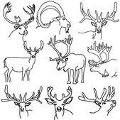一套的鹿、 麋鹿、 和山羊 — 图库矢量图片