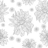 Hand drawn floral wallpaper with set of different flowers. — Vettoriale Stock