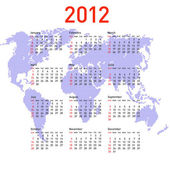 Calendar 2012 with world map. Sundays first — Vettoriale Stock