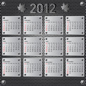 Stylish calendar with metallic effect for 2012. Sundays first — Vettoriale Stock
